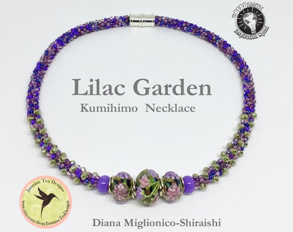 Lilac Garden, Beaded Kumihimo Necklace, 18 Inch Kumihimo Necklace With Silver Magnetic Clasp, Hand Crafted Beaded Necklace