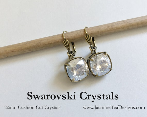Crystal Clear Swarovski Earrings, 12mm Cushion Cut Crystals, Set In Vintage Patina Antique Gold Tone, Shell Motif Lever Back Ear Wires