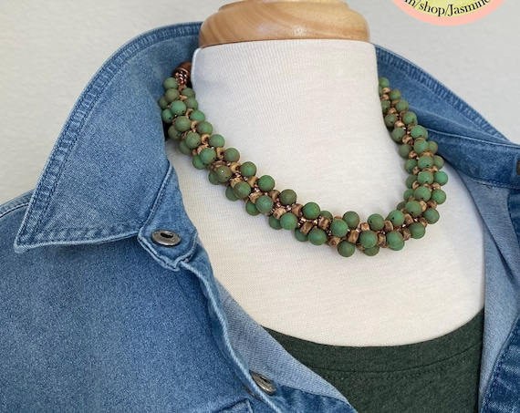 Sample Sale Necklace, Matubo Necklace, Etched Rounds With Seed Beads, Antique Copper And Green Picasso Measures From 17.5 Inches Up To 19