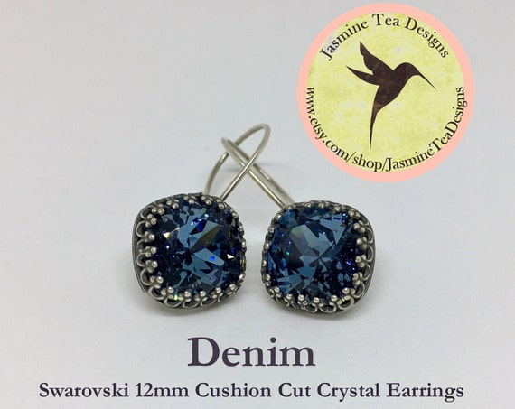 12mm Cushion Cut Denim Swarovski Crystal Earrings, In  A Vintage Antique Silver Patina Bezel Setting , Ear Wires