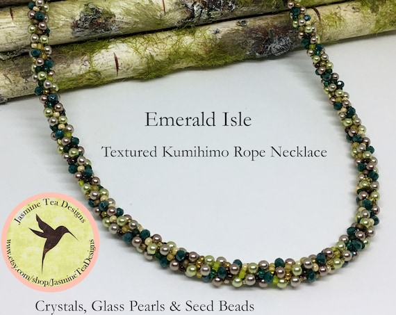 Emerald Isle Beaded Kumihimo Necklace, 20 Inch Kumihimo Necklace, Crystal And Pearl Kumihimo Necklace With Magnetic Clasp