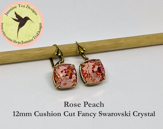 Rose Peach Swarovski Earrings, 12mm Cushion Cut Crystals, Set In Vintage Patina Antique Brass, Fleur de Lis Motif, Lever Back Ear Wires