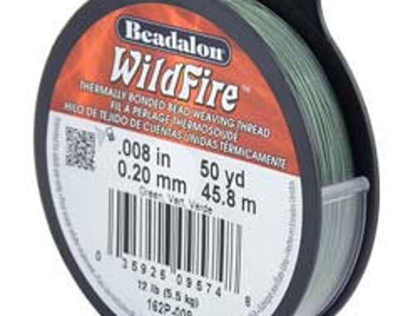Green Beadalon WildFire Thread, .008 Inches, .20mm, 50 Yards Per Spool Or 150 Feet, Thermally Bonded Bead Weaving Thread