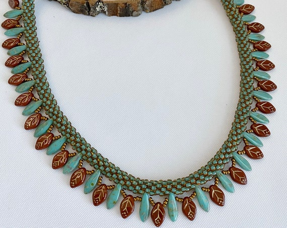 Autumn Leaves Beaded Kumihimo Necklace, Autumn Inspired Necklace with Auburn Etched Drop Leaves, 21 Inch Necklace