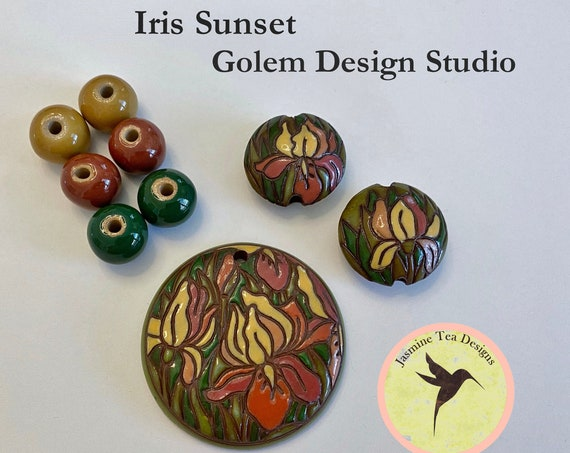 Iris Sunset 9 Piece Set, Large Round Pendant, 2 Medium Lentils, 6 Solid Rounds by Golem Design Studio
