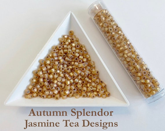 Matsuno F634 Size 8 Seed Beads for Autumn Splendor, Gold, Silver Lined, Matte, Rainbow Seed Beads, 3 Inch Tube, 12g