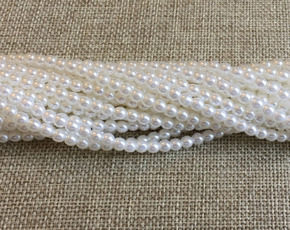 White Shiny 4mm Glass Pearls, 120 Pearls Per Strand