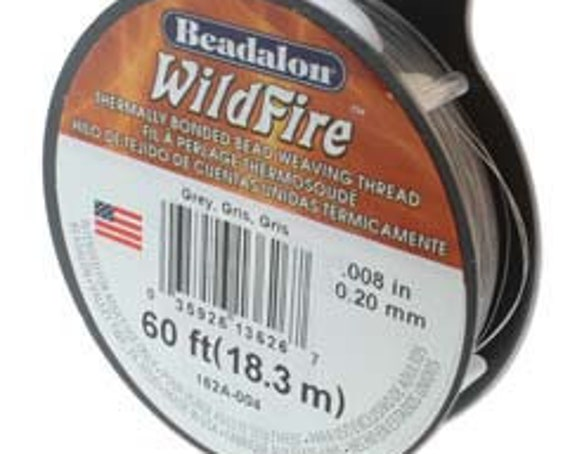Grey, Gray Beadalon WildFire Thread, .008 Inches, .20mm, 50 Yards Per Spool Or 150 Feet, Thermally Bonded Bead Weaving Thread