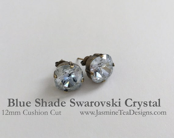 Blue Shade Crystal Earrings, 12mm Cushion Cut Swarovski Crystals, Set In Vintage Patina Antique Brass, Post Setting, Stud Earrings