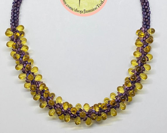 Sample Sale Necklace, Bohemian Glass Necklace, Toho Treasure Beads, Miyuki Long Magatama, Magnetic Clasp, Measures 19 Inches