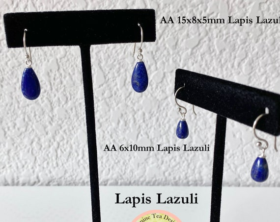 Royal Blue Lapis Lazuli Teardrop Briolette Earrings or Royal Blue Lapis Lazuli Pear Briolette Earrings with Sterling Silver French Wires