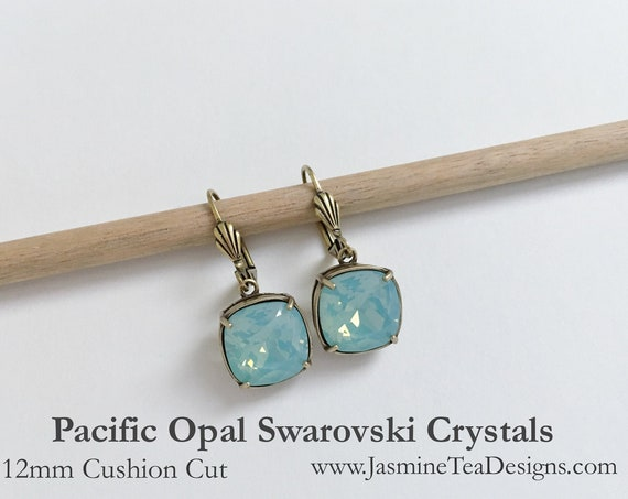 Pacific Opal Swarovski Earrings, 12mm Cushion Cut Crystals, Set In Vintage Patina Antique Gold Tone, Shell Motif Lever Back Ear Wires