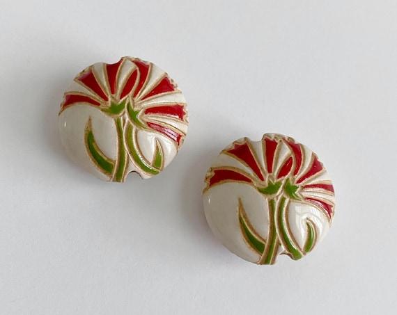 Red Carnations Lentil Bead, Round Lentil Ceramic Pendant Bead, Golem Design Studio Beads