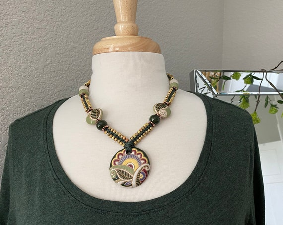 Leafy Greens Artisan Kumihimo Necklace, Beaded 19 to 22 Inch Kumihimo Necklace Featuring Artisan Golem Design Studio Beads