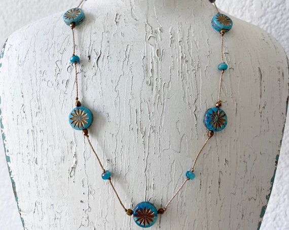 Montana Blue Aster Hand Knotted Necklace, Montana Blue Aster Star Czech Glass Beads, 16 Inch Necklace