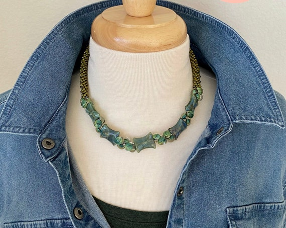 Moss Twists And Turns Beaded Kumihimo Necklace, 18 Inch Beaded Kumihimo Necklace With Magnetic Clasp