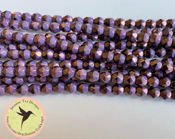 Duet Purple Vega 6mm Fire Polish Beads, Round Faceted 6mm Fire Polish Beads, 25 Beads Per Strand