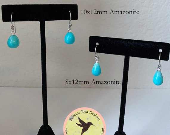 Peru Amazonite Teardrop Briolette Earrings with Sterling Silver French Wires