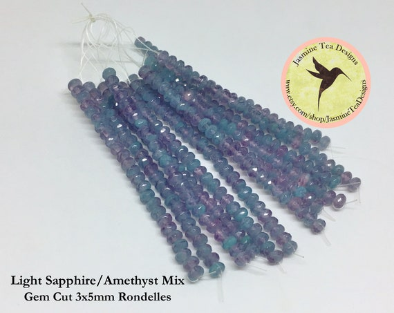 Light Sapphire And Amethyst Mix 3x5mm Crystal Rondelles, 25 Chinese Crystals Per Strand