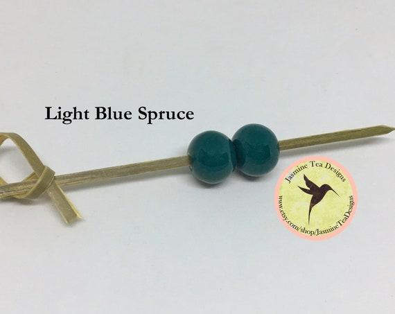Light Blue Spruce Glazed Round Beads, Large Hole Beads For Kumihimo, Spacer Beads, Golem Beads, Set Of Two Beads