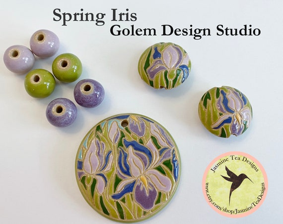 Spring Iris 9 Piece Set, Large Round Pendant, 2 Medium Lentils, 6 Solid Rounds by Golem Design Studio