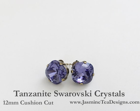 Tanzanite Earrings, 12mm Cushion Cut Swarovski Tanzanite Crystals,  Set In Vintage Patina Antique Brass, Post Setting, Stud Earrings