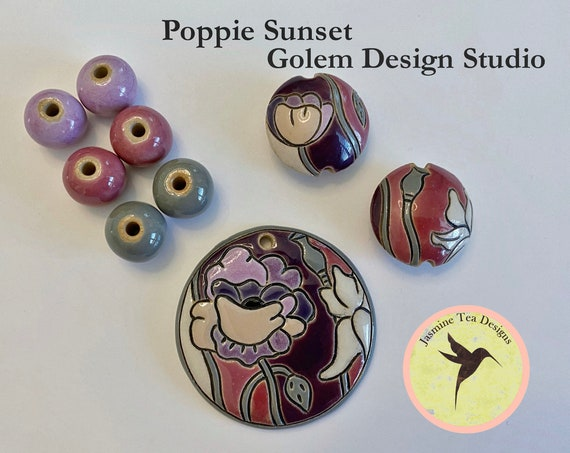 Poppy Sunset 9 Piece Set, Large Round Pendant, 2 Medium Lentils, 6 Solid Rounds by Golem Design Studio