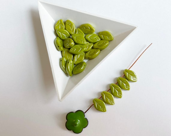 Chartreuse Leaves, Opaque Etched Leaf Beads, Top Drilled, 12x7mm, Czech Glass, 25 Beads Per Pack
