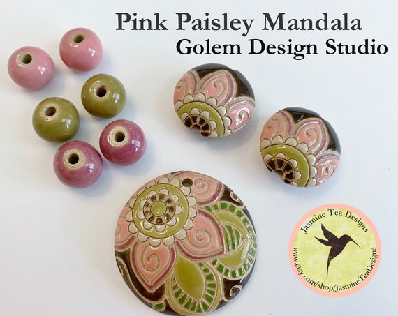 Pink Paisley Mandala 9 Piece Set, Large Round Pendant, 2 Medium Lentils, 6 Solid Rounds by Golem Design Studio
