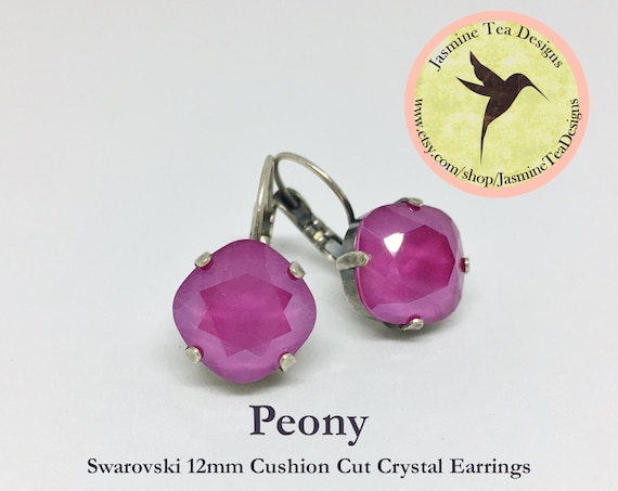 12mm Cushion Cut Peony Swarovski Crystal Earrings, In  A Vintage Antique Silver Patina Setting ,  Lever Back Ear Wires