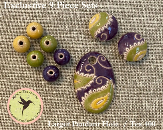 Paisley Oval Pendant In Purple, Green And Yellow With Lentils And Coordinating Beads, 9 Piece Set Exclusive For Jasmine Tea Designs by Golem