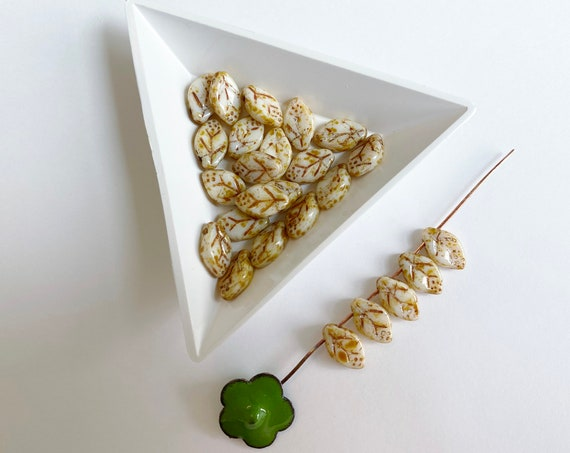 Opaque White Picasso Leaves, Etched Leaf Beads with Picasso Finish, Top Drilled, 12x7mm, Czech Glass, 25 Beads Per Pack