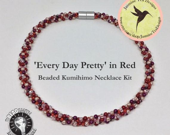 EVERY DAY PRETTY Kit in Red, Beaded Kumihimo Necklace Kit, Loading Instructions Included, Beads And Clasp Included