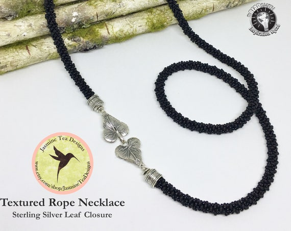 Black Textured Kumihimo Rope Necklace With Sterling Silver Leaf Closure, 34 Inch Long Rope Necklace