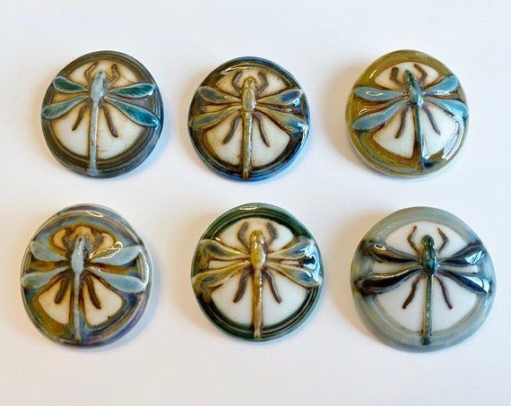 Dragonfly Porcelain Pendants, High Fired Porcelain Pendants, Round Dragonfly Pendant, Green, Blue, Turquoise Glazes, Six Different Designs