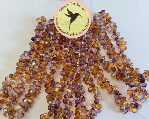 6x4mm Teardrop Beads, Topaz Celestial Teardrops, Teardrop Beads, 50 Beads Per Strand