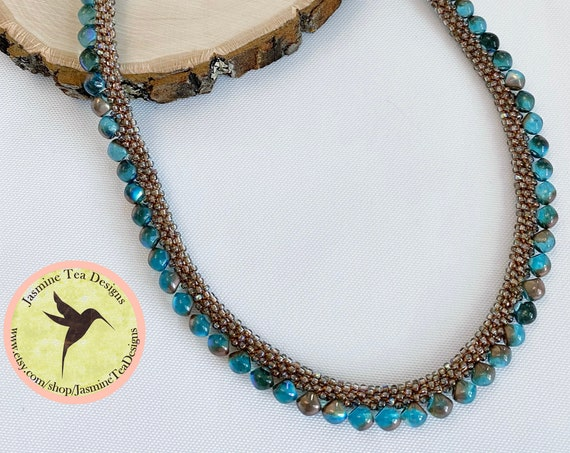 Copperline Beaded Kumihimo Necklace, A Petite 16 Inch Necklace, A Fun Color Block Design by Diana Miglionico Shiraishi,  Magnetic Clasp