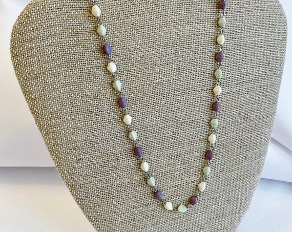 Czech Glass Beaded Chain Necklaces, Travertine Luster Pinch Beads In Lavender, Sage Green and Ivory on Silver Plated Chain