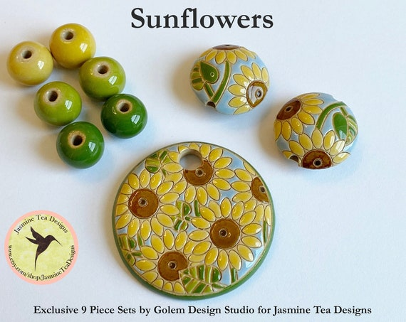 Sunflowers with Coordinating Lentils and Solid Rounds, Exclusive 9 Piece Sets From Golem Design Studio for Jasmine Tea Designs