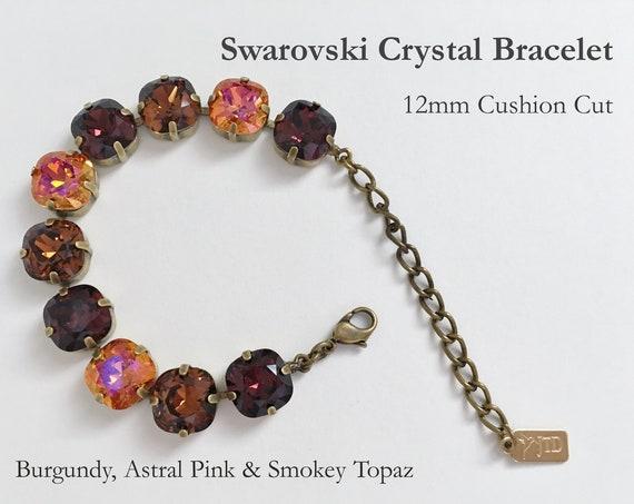 Burgundy, Astrial Pink and Smokey Topaz Swarovski Crystal Bracelet, 12mm Cushion Cut Crystals, Adjustable Length