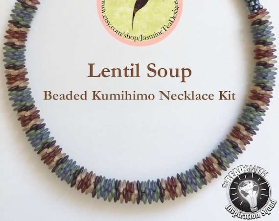 LENTIL SOUP KIT, A Beaded Kumihimo Necklace Kit, A Fully Beaded Yatsu Kongoh Gumi Necklace With 5 Color Matte Frosted Lentils And Seed Beads