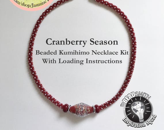 CRANBERRY SEASON, A Fully Beaded Necklace Kit With A Focal Grouping Of Lampwork Beads And Swirls