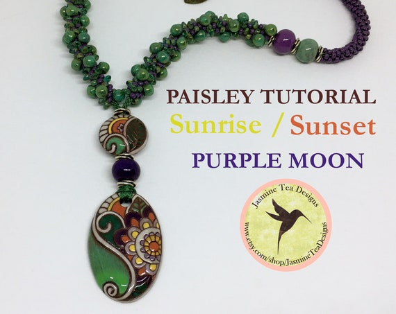 PDF Kumihimo Pattern, PAISLEY Beaded Kumihimo Necklace Tutorial, Tutorial Only, Includes Sunrise, Sunset And Purple Moon, Instant Download
