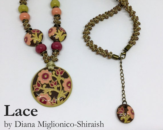 LACE KIT, Kumihimo Necklace Kit, Create This Partially Beaded Kumihimo Necklace Featuring Golem Design Studio Beads, S Spiral Kongoh gumi