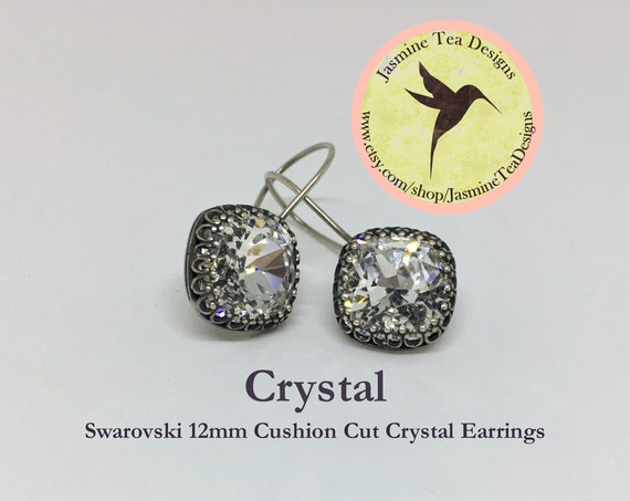 12mm Cushion Cut Swarovski Crystal Earrings, In  A Vintage Antique Silver Patina Bezel Setting , Ear Wires