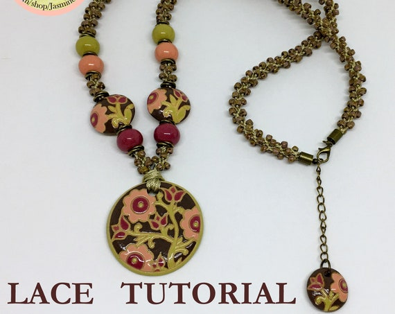 PDF Kumhimo Pattern, LACE Beaded Kumihimo Necklace Tutorial, Tutorial Only, Instant Download