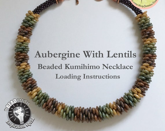 PDF Kumihimo Pattern, Aubergine With Lentils Beaded Kumihimo Necklace Loading Instructions, Loading Instructions Only, Instant Download