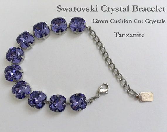 Tanzanite Swarovski Crystal Bracelet, 12mm Cushion Cut Crystals, Adjustable Length