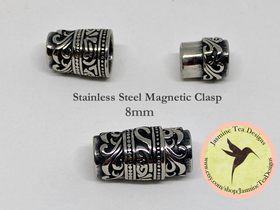 Stainless Steel 8mm Magnetic Clasp, Scrolled Detail Magnetic Clasp, 8mm Magnetic Clasps