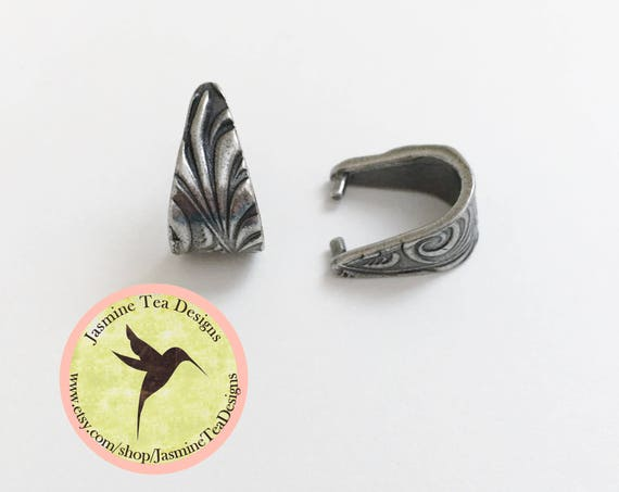 Pinch Bail, Antique Pewter Pinch Bail, Dulce Vida Jardin Collection by Tierra Cast, Two Sided Swirl Design